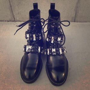 Zara Jeweled Combat Leather Boots